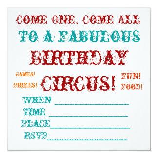 Vintage Circus birthday Invite