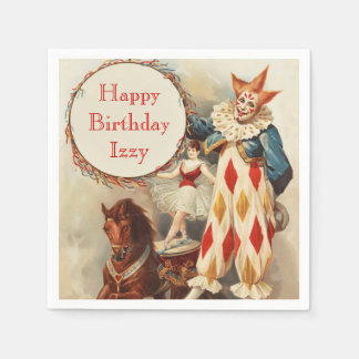 Vintage Circus Clown Personalized Birthday Paper Napkins