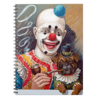 Vintage Circus Clown with his Circus Pug Dog Note Book