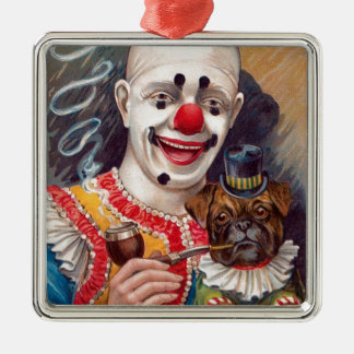 Vintage Circus Clown with his Circus Pug Dog Silver-Colored Square Decoration