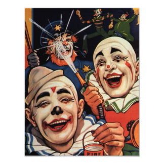 Vintage Circus Clowns, Silly Funny Birthday Party 4.25x5.5 Paper Invitation Card