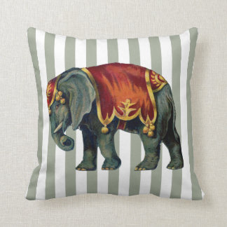 Vintage Circus Elephant Your Stripe Color Throw Pillow
