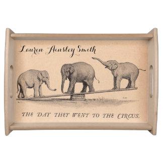 Vintage Circus Elephants Personalized Serving Platter