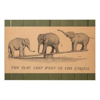 Vintage Circus Elephants Wood Canvas