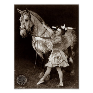 Vintage Circus Girl and Horse Print