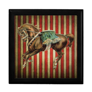 vintage circus horse large square gift box