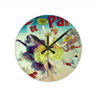 Vintage circus illustration French cabaret Paris Wall Clock