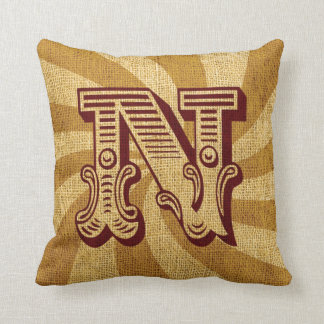 Vintage Circus Letter N Pillow