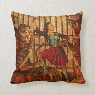 Vintage Circus Lion Tamer Throw Cushion