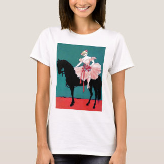 Vintage Circus Performer with a Black Horse T-Shirt