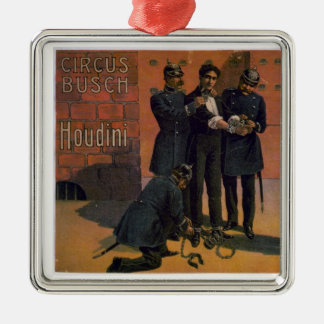 Vintage Circus Poster - Houdini and the Circus Silver-Colored Square Decoration