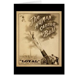 Vintage Circus Poster Human Canon Ball circa 1879 Greeting Card
