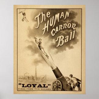 Vintage Circus Poster The Human Cannon Ball Retro