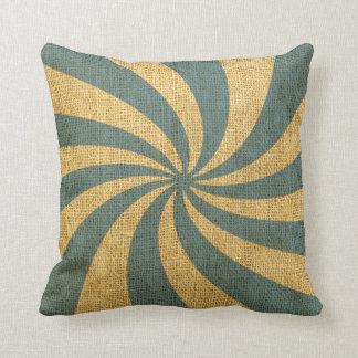 Vintage Circus Spiral Blue Throw Pillows