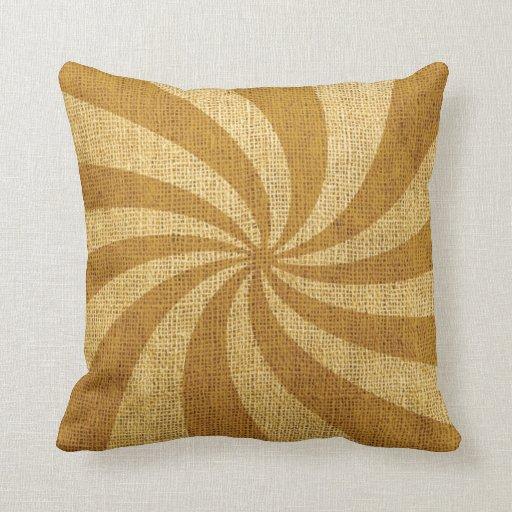 Vintage Circus Spiral Golden Throw Pillows