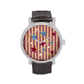 Vintage Circus Stars and Stripes Wristwatch
