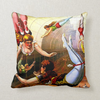 Vintage Circus Trapeze Lady Poster Art Reversible Throw Cushions