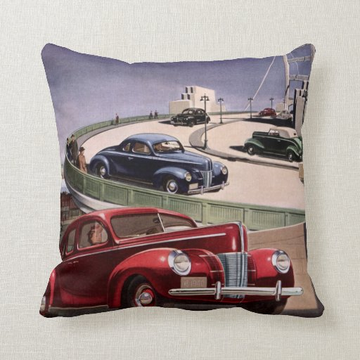 Vintage Classic Sedan Cars Driving on the Freeway Throw Pillows