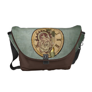 Vintage Clock Collage Messenger Bag