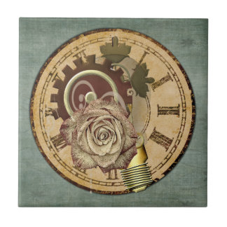 Vintage Clock Face, Rose and Industrial Parts Small Square Tile