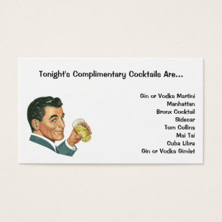 Vintage Cocktails Beverages, Man Drinking Drinks Business Card