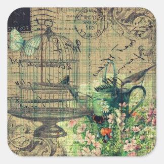 Vintage Collage w Bird Birdcage Garden Stickers