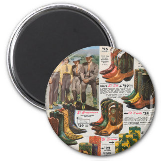 Vintage Colorful Cowboy & Cowgirl Boots 6 Cm Round Magnet