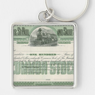 Vintage Common Stock Certificate, Business Finance Silver-Colored Square Key Ring