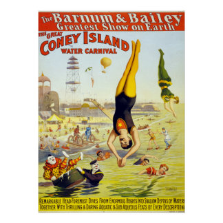 VIntage Coney Island Circus Water Carnival Poster