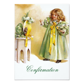 Vintage Confirmation Girl Announcement Invitation
