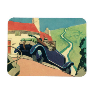 Vintage Convertible Car on a Country Road Magnet