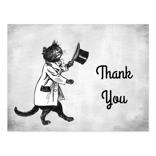 Vintage Cool Cat Custom Thank You Postcard
