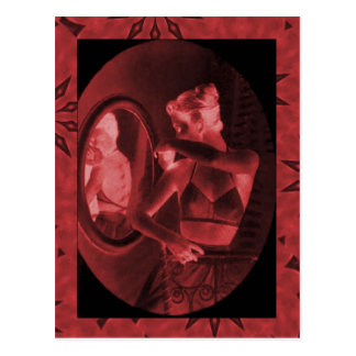 Vintage corsets Looking in the mirror crimson Post Cards