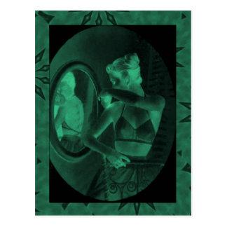 Vintage corsets Looking in the mirror jade Postcard