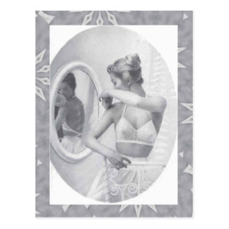 Vintage corsets, Looking in the mirror Postcard