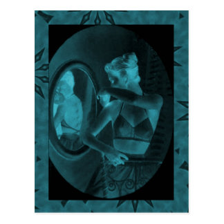 Vintage corsets Looking in the mirror turquoise Postcards