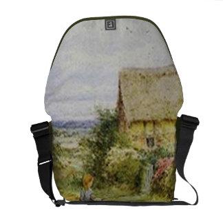 Vintage Country Cottage and Children Messenger Bag