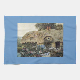 Vintage Country Cottage with Flower Garden Blue Ki Kitchen Towel