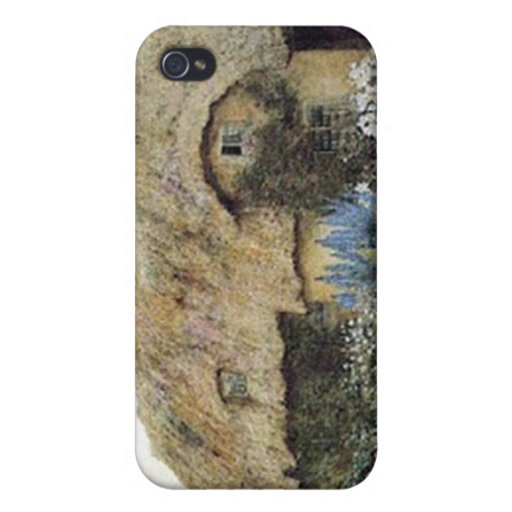 Vintage Country Cottage with Flower Garden iPhone 4/4S Cases