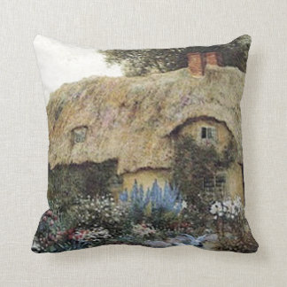 Vintage Country Cottage with Flower Garden Pillow