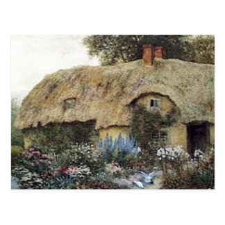 Vintage Country Cottage with Flower Garden Post Card