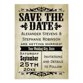 Vintage Country Save the Date Cards 13 Cm X 18 Cm Invitation Card