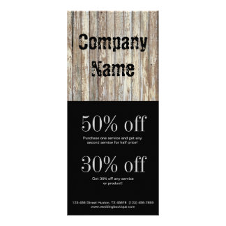 vintage country wood grain construction business customised rack card