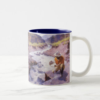 Vintage Cowboy, Panning Gold, Wyoming by Leigh Two-Tone Coffee Mug