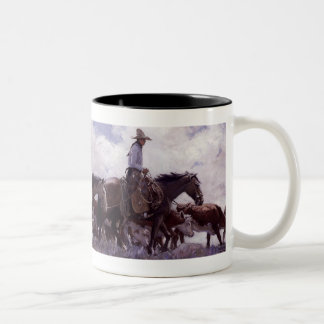 Vintage Cowboy with His Herd of Cattle by Koerner Two-Tone Coffee Mug