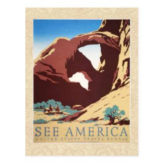 Vintage Cowboys Desert Rock Canyon Arch See Americ Postcard