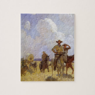 Vintage Cowboys, The Parkman Outfit by NC Wyeth Jigsaw Puzzle
