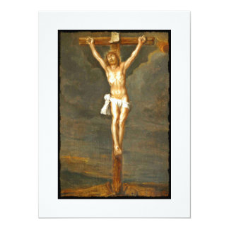 Vintage Crucifixion Image 14 Cm X 19 Cm Invitation Card