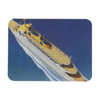 Vintage Cruise Ship in the Ocean Seen from Above Magnet