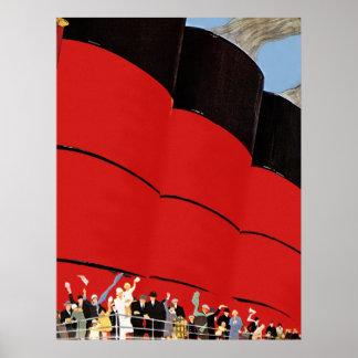 Vintage Cruise Ship Passengers Waving Goodbye Poster